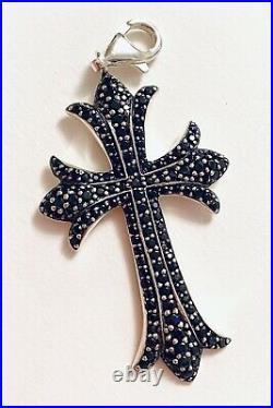 THOMAS SABO Sterling Silver & Black Cubic Zirconia Studded Cross Pendant. Unisex