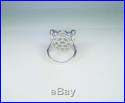 TIGER PANTHER JAGUAR Cubic Zirconia RING 7 WHITE GOLD-plated 925 STERLING SILVER