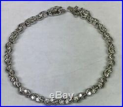 Tacori Sterling Silver 925 Cubic Zirconia CZ Open Scroll Link Tennis Bracelet