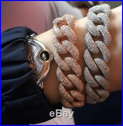 Thick Cuban Chain Bracelet 925 Silver Curb Chain Cubic Zirconia 14K Gold Plated