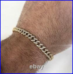 Thin Cuban 925 Sterling Silver Unique Bracelet Gents with Cubic Zirconia Stones