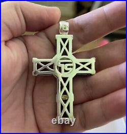 Thomas Sabo Extra Large CROSS Pendant Sterling Silver Blue Cubic Zirconia