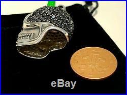 Thomas Sabo Rare Silver & Black Cubic Zirconia Horned Skull Heavy Pendant £359