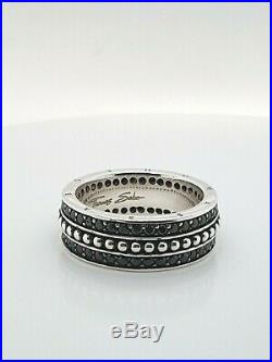 Thomas Sabo Sterling Silver Black Cubic Zirconia Gents Ring Size W RRP $419