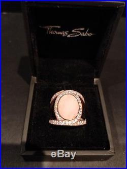Thomas Sabo Sterling Silver/Rose Gold Vermeil Faceted Rose Quartz/Cubic Zirconia