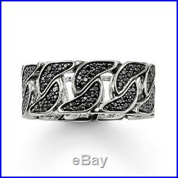 Thomas Sabo TR1932 Sterling Silver Curb Link Ring Black Cubic Zirconia RRP $429