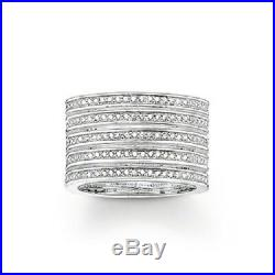 Thomas Sabo TR1993 Sterling Silver Wide 5 Row Cubic Zirconia Ring Size P RRP$589