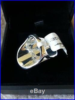 Thomas sabo milky quartz and cubic zirconia ring size N. (Genuine)