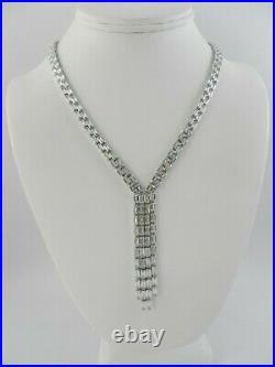 Tiara Cubic Zirconia Baguette Tassle 18 Lariat Necklace in Sterling Silver