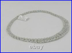 Tiara Cubic Zirconia Cluster 18 Statement Necklace in Sterling Silver