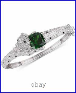Tiara Emerald-Look Glass Stone Cubic Zirconia Panther Bangle sterling silver