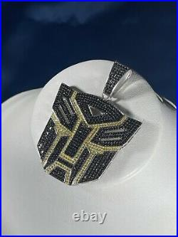Transformers 925 Sterling Silver Pendant Cubic Zirconia Stones Iced Out White