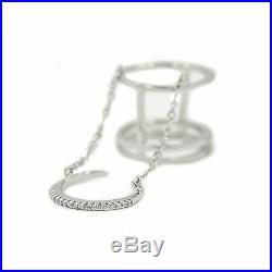 Trendy Sterling Silver Slave Ring With Cubic Zirconia Stones 5 Grams Size 6