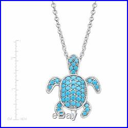 Turtle Pendant with Teal Cubic Zirconia in Sterling Silver