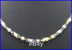 Two Tone 925 Sterling Silver Cubic Zircon Barrel Link 35 Chain 1610