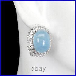 Unheated Blue Aquamarine 14x10mm Cubic Zirconia 925 Sterling Silver Earrings