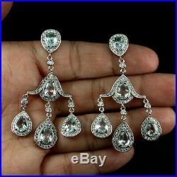 Unheated Oval 8x6 mm Blue Aquamarine Cubic Zirconia 925 Sterling Silver Earrings