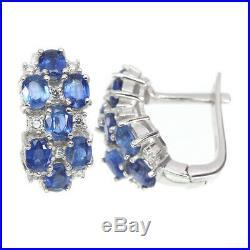 Unheated Oval Blue Kyanite 4x3mm Cubic Zirconia 925 Sterling Silver Earrings