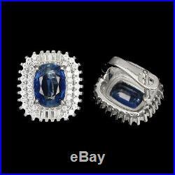 Unheated Oval Blue Kyanite 9x7mm Cubic Zirconia 925 Sterling Silver Earrings