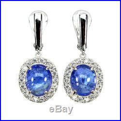 Unheated Oval Blue Tanzanite 11x9mm Cubic Zirconia 925 Sterling Silver Earrings
