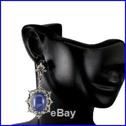 Unheated Oval Blue Tanzanite 16x12mm Cubic Zirconia 925 Sterling Silver Earrings