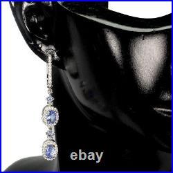 Unheated Oval Blue Tanzanite 6x4mm Cubic Zirconia 925 Sterling Silver Earrings
