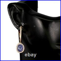 Unheated Oval Blue Tanzanite 9x7mm Cubic Zirconia 925 Sterling Silver Earrings
