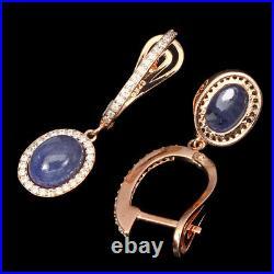 Unheated Oval Blue Tanzanite 9x7mm Cubic Zirconia 925 Sterling Silver Earrings