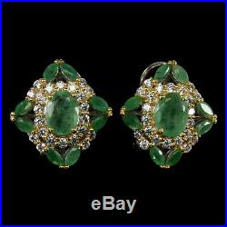Unheated Oval Emerald 8x6mm Natural Cubic Zirconia 925 Sterling Silver Earrings