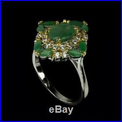 Unheated Oval Emerald 8x6mm Natural Cubic Zirconia 925 Sterling Silver Ring