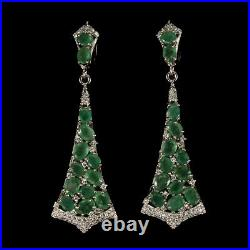 Unheated Oval Green Emerald 5x4mm Cubic Zirconia 925 Sterling Silver Earrings