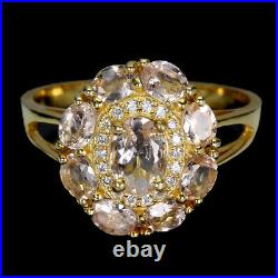 Unheated Oval Pink Morganite 7x5mm Cubic Zirconia 925 Sterling Silver Ring 9.5