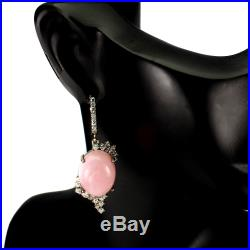 Unheated Oval Pink Opal 16x12mm Cubic Zirconia 925 Sterling Silver Earrings