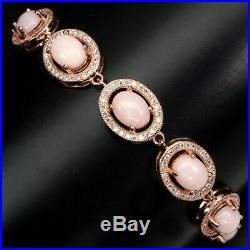 Unheated Oval Pink Opal 8x6mm Cubic Zirconia 925 Sterling Silver Bracelet 8 Inch