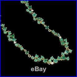 Unheated Round Emerald 3.5mm Cubic Zirconia 925 Sterling Silver Necklace 18 Inch