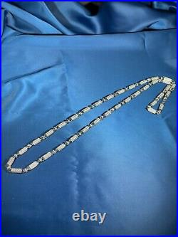 Unique Cubic Style 925 Sterling Silver Gents Chain Full Cubic Zirconia Stones