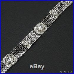 Unique Cubic Zirconia Byzantine 925 Sterling Silver Greek Handmade Bracelet