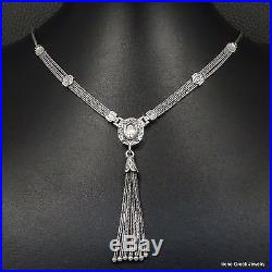 Unique Cubic Zirconia Etruscan Style 925 Sterling Silver Greek Handmade Necklace