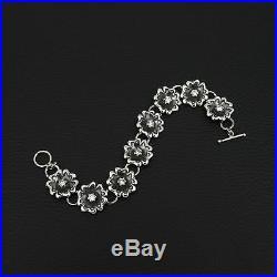 Unique Luxury Cubic Zirconia Flower Style 925 Sterling Silver Greek Art Bracelet
