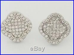 Van Cleef Designer Stud Earrings Sterling Silver Pave Set Cubic Zirconia Stones