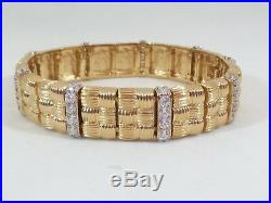 Victoria Wieck Sterling Silver Gold Tone Cubic Zirconia Quilted Texture Bracelet