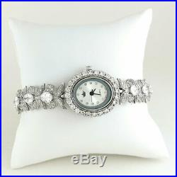 Video! Flower Links Design Solid 925 Sterling Silver Watch With Cubic Zirconia