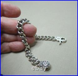 Vintage Aqua Fortis Heavy Sterling Silver Bracelet- Cubic Zirconias Sn746