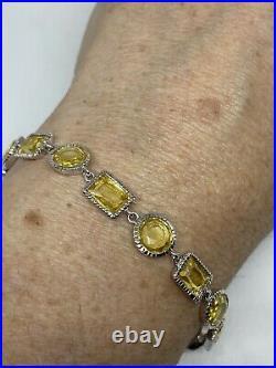 Vintage Citrine Cubic Zirconia Bracelet 925 Sterling Silver Tennis