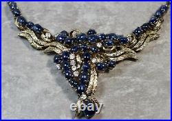 Vintage Estate Sterling Silver Cubic Zirconia Blue Sapphire Necklace & Earrings