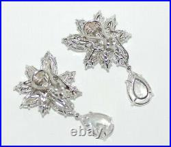 Vintage Fantasia By Deserio Sterling Cubic Zirconia Cluster Ear Clips With Drop