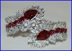 Vintage Fantasia Deserio Cubic Zirconia Synthetic Ruby Bracelet Set In Sterling
