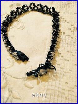 Vintage Genuine Cubic Zirconia 925 Sterling Silver Antique Tennis Bracelet
