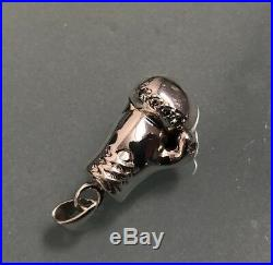 Vintage Heavy 925 Sterling Silver Solid Boxing Glove Cubic Zirconia Pendant 16g