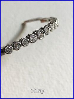 Vintage JUDITH RIPKA Sterling Silver. 925 Cuff Bracelet 9 CZ Cubic Zirconia Box